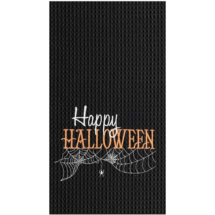 Black towel with embroidered happy Halloween, spider web & spider.