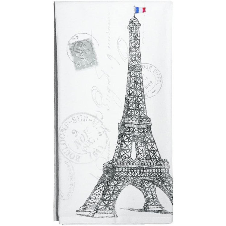 white towel with black eiffel tower and stamp design in background