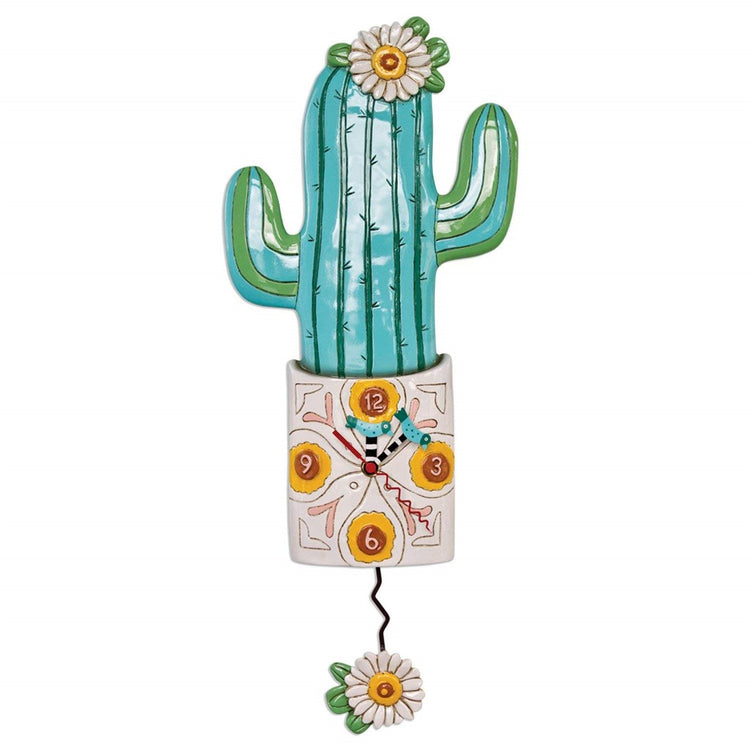 Cactus in a pot shaped wall clock with flower pendulum.  Teals and whites.