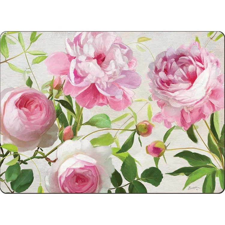 White hardboard placemat with pink and white flowers, green leaves and pink flower buds.