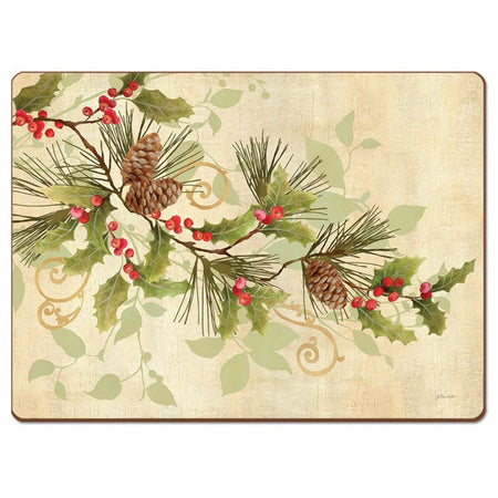 Tan colored placemat with a red holly berry branch, green fir needles, leaves and brown pinecones.