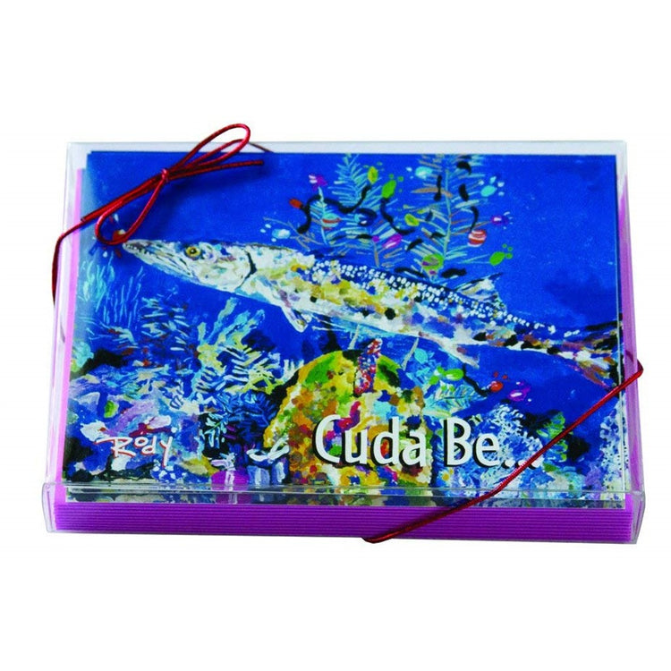 "Clear box with blue barracuda fish and text ""cuda be...""."