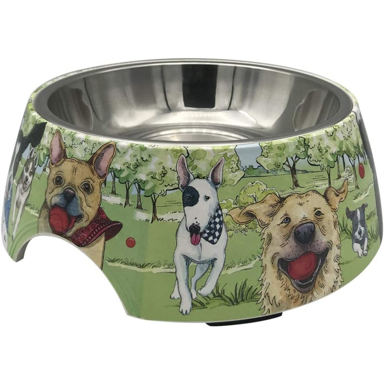 Dog bowl with dogs at the park design.