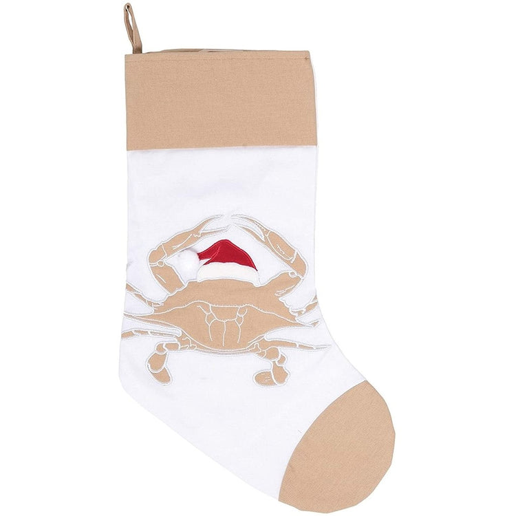 white stocking with tan boarder and tan crab with a Santa hat on