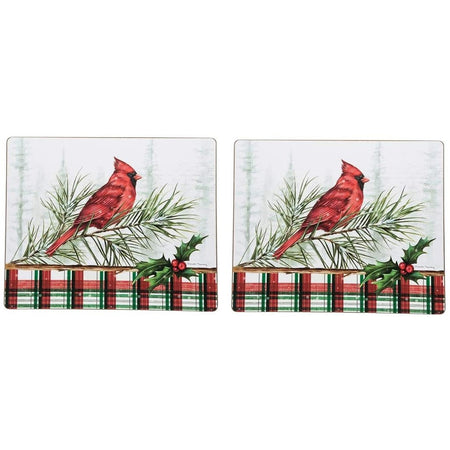 Wood pine snowy background with cardinal on a branch and a plaid boarder on the bottom.