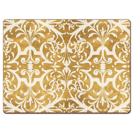 Gold placemat with white ornate design.