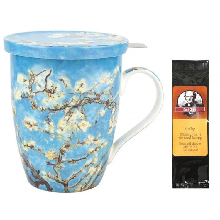 Tea cup with lid and infuser imprinted with Van Gogh's Almond Blossoms.  Earl Grey tea package.