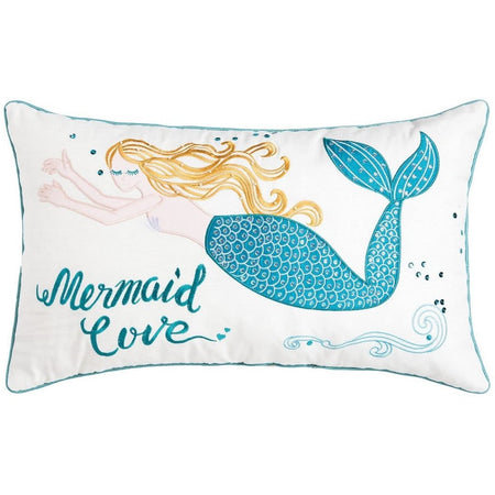 rectangular pillow with blonde mermaid with blue tail & saying mermaid love.