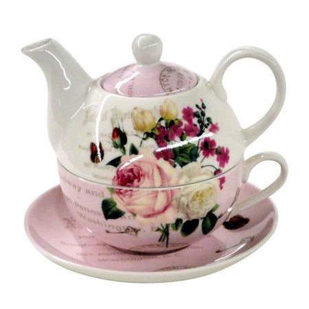 Tea for one on saucer.  Pink and white with text  and white and pink roses.
