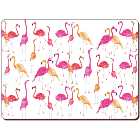 pink, orange & red flamingos scattered on the hardboard