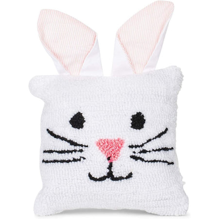white hooked bunny pillow with ears