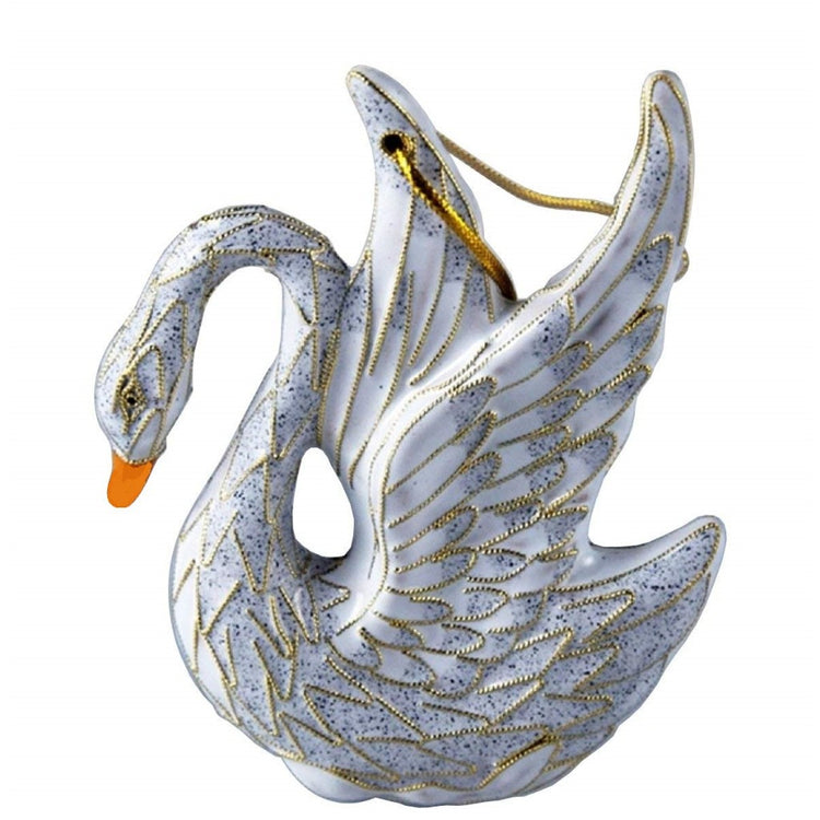 Swan shapped hanging ornament. Swan has wings up. White with grey spotting and metal accent.