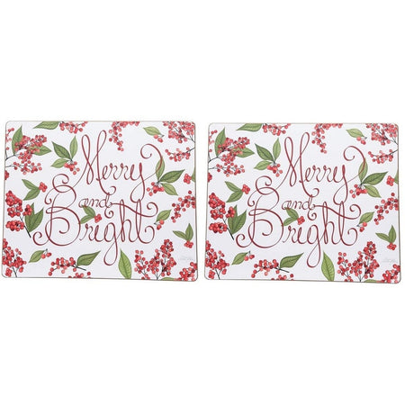 White hardboard with red cursive writing that says merry and bright. Has holly berry & leaves.