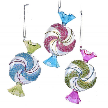 3 Glass Candy Christmas Hanging Ornaments
