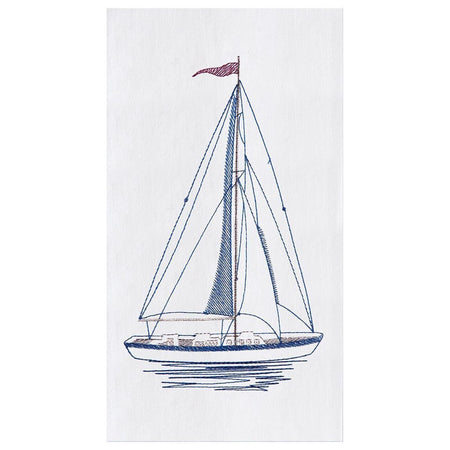 White flour sack kitchen towel embroidered with a blue sailboat.