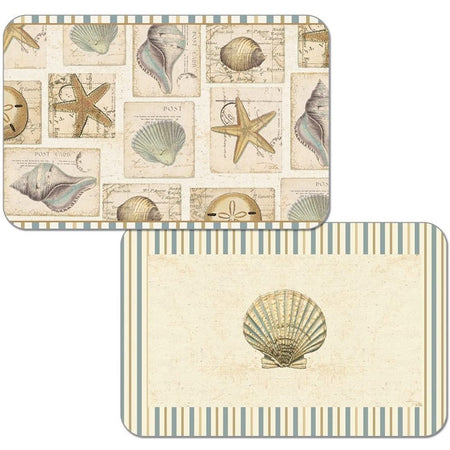2 placemats with shell and starfish pattern