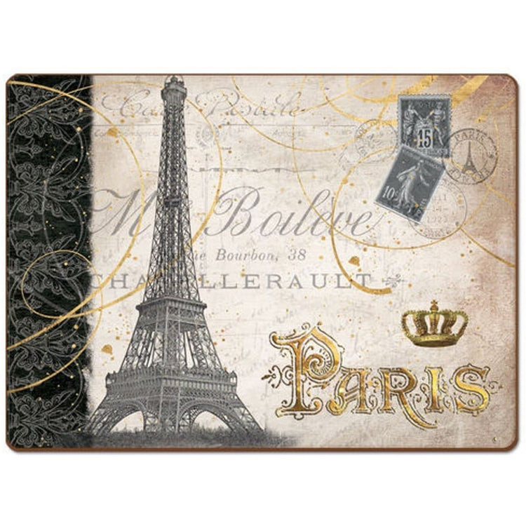"Tan background with a grey Eiffel tower, gold 'Paris"", and stamp accents."
