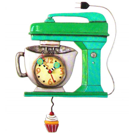 Green mixer shaped wall clock with cupcake pendulum.