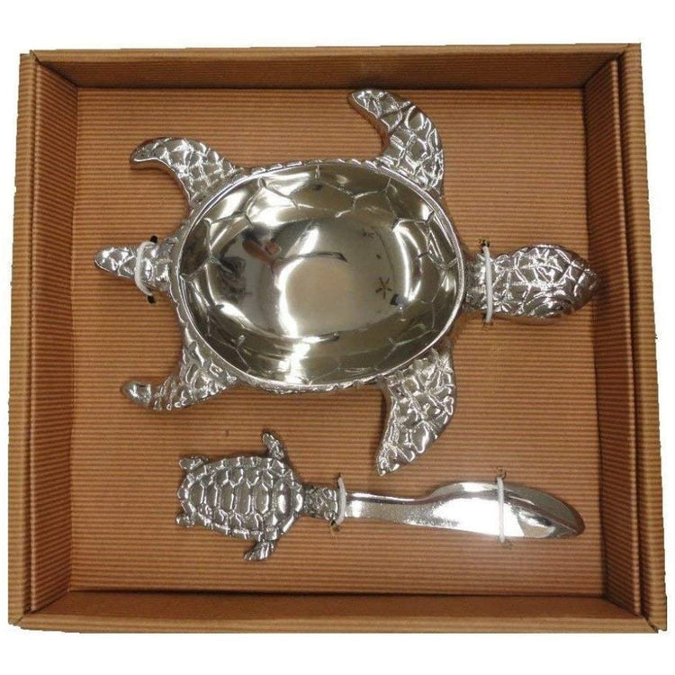 silver metal turtle shaped dip bowl and spreader in a nice box.