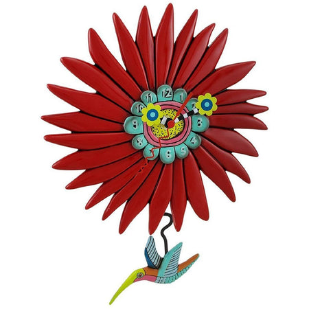 red flower with a multicolored hummingbird pendulum.