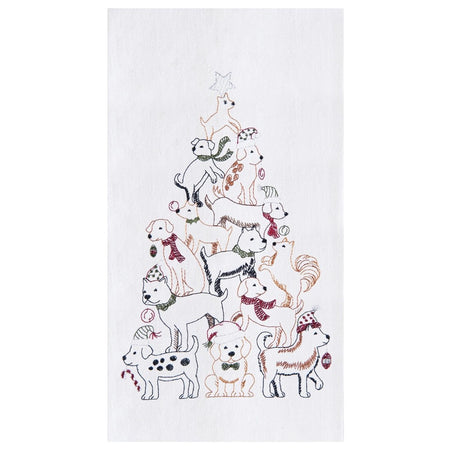 White flour sack towel embroidered with dogs in pyramid like a Christmas tree.