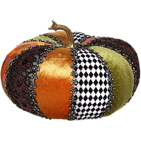 fall colored pumpkin with embellishments