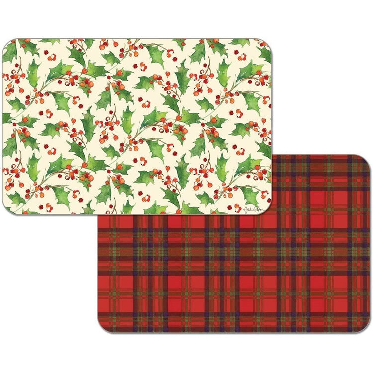 1 side is red & black plaid, the other is red holly berries with green leaves.