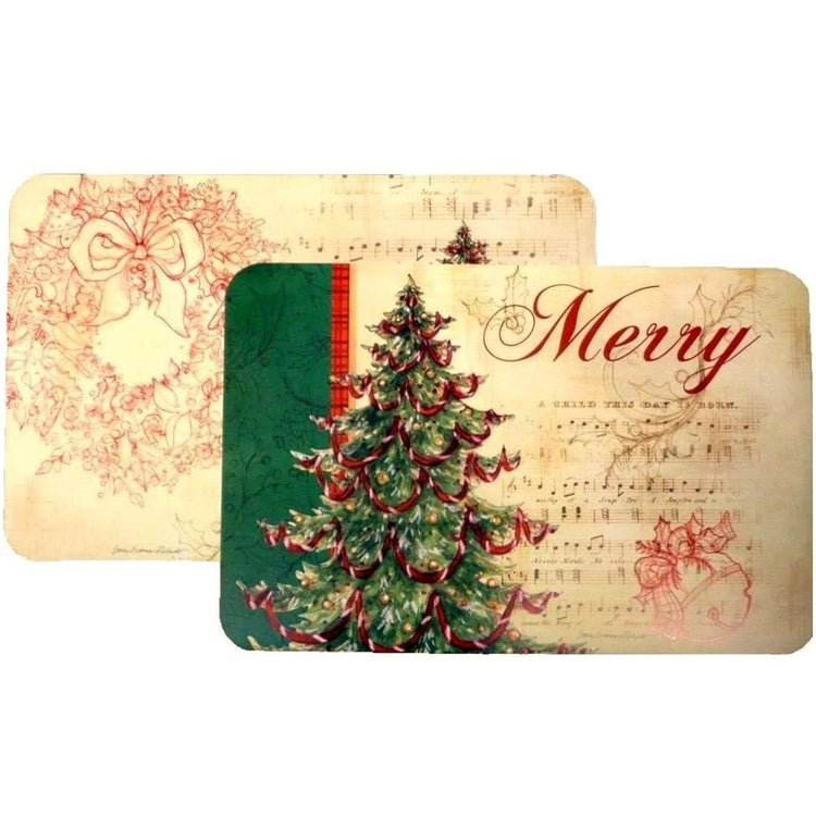 Sheet music beige mat with a Christmas tree & says 'Merry'. The other side has a wreath on it.