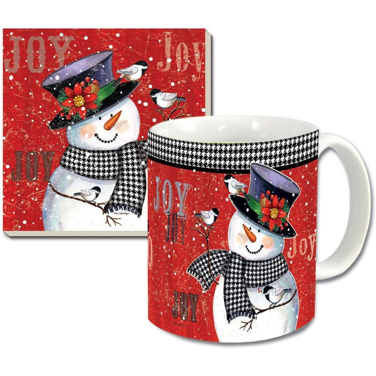 Santa and snowman on mug & snowman on the coaster with a red background.