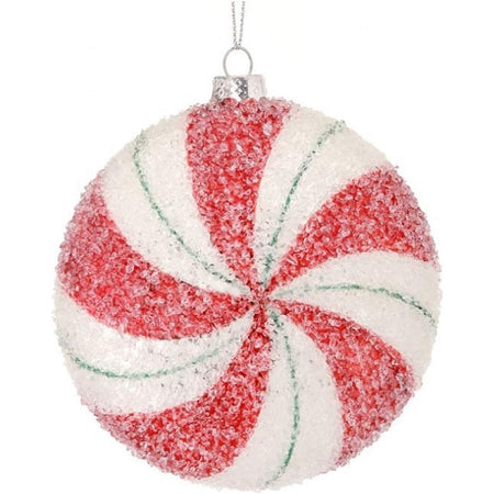 Red, white & green striped peppermint round candy covered in 'sugar'