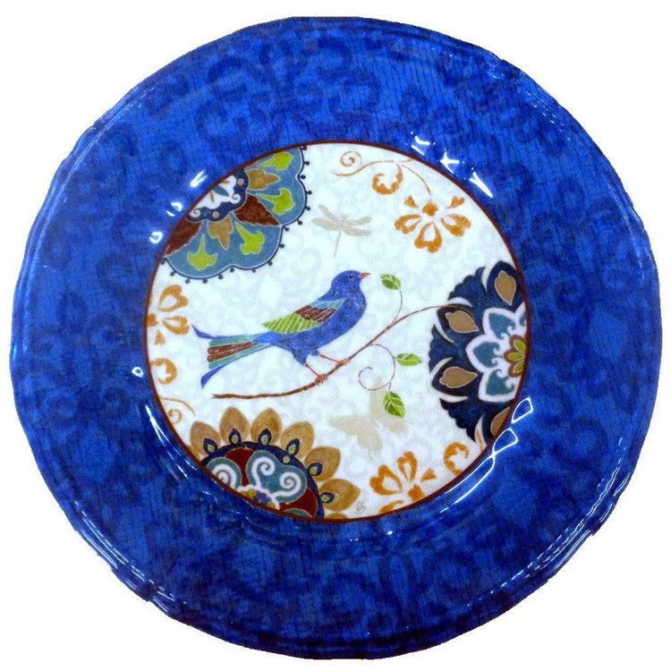 Round plate with blue border, inside shows a blue bird and blue & brown flowery design.