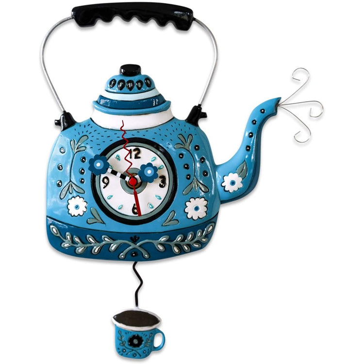Tea kettle shaped wall clock with cup of tea pendulum. blue with green and white accent.