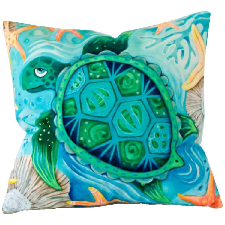 Blue undersea scene with a green and blue turtle on both sides.