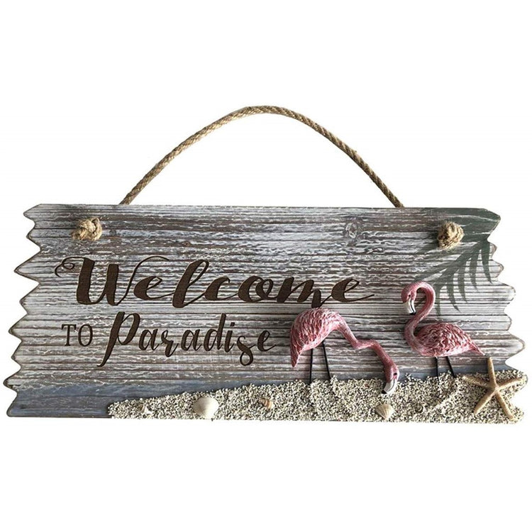"Plaque or sign rectangle shape with rope hanger.  Text is ""Welcome To Paradise"" with 2 raised flamingo figures and sand like texture."