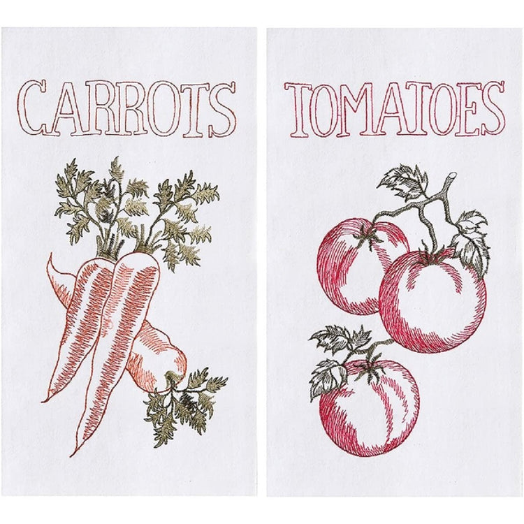 2 white towels. 1 with red tomatoes, the other with orange and green carrots with stems.