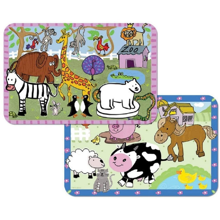 2 rectangle placemats, 1 with farm animals and 1 with zoo animals.