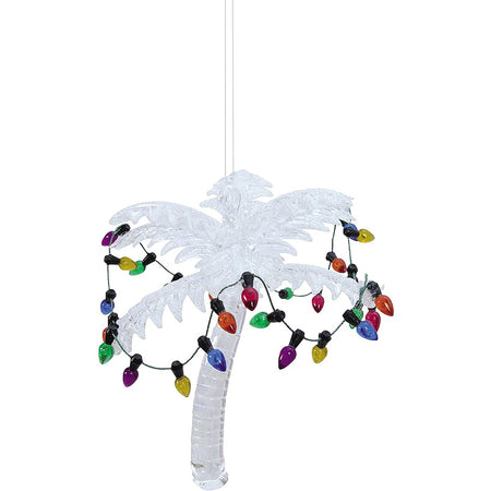 white glass palm tree with faux Christmas lights