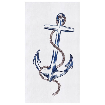 Embroidered Nautical Anchor Design Flour Sack Towel