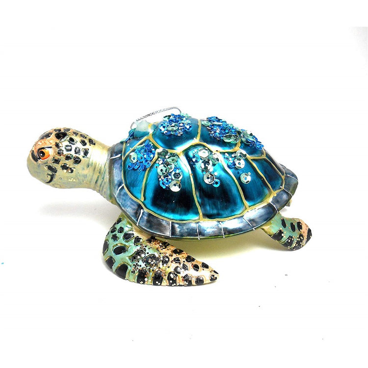 Sea Turtle shaped figurine hanging ornament.  Blue shell with beads and sequins.
