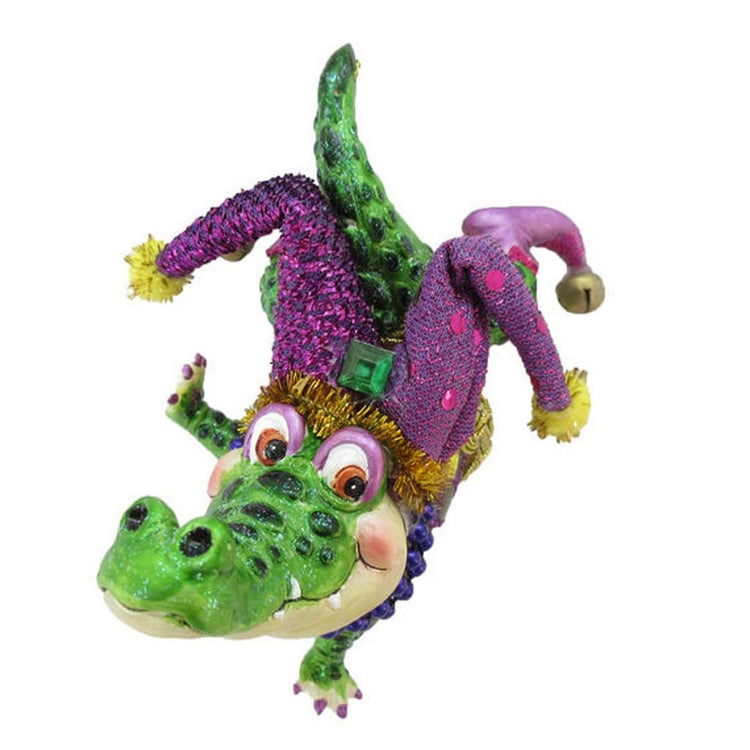 Alligator shaped figurine ornament.  Dancing with Mardi Gras hat.