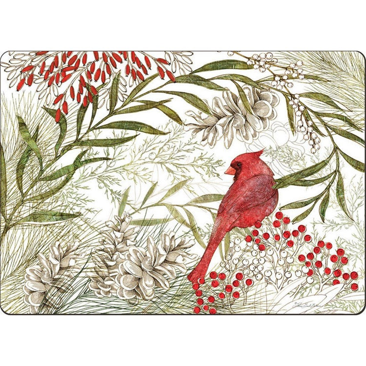 Hardboard placemat showing red cardinal, green foliage, red berries, and pinecones.