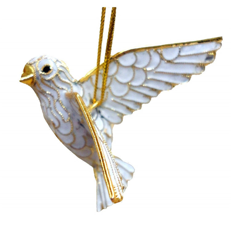 White dove shaped hanging Christmas ornament with gold accent.
