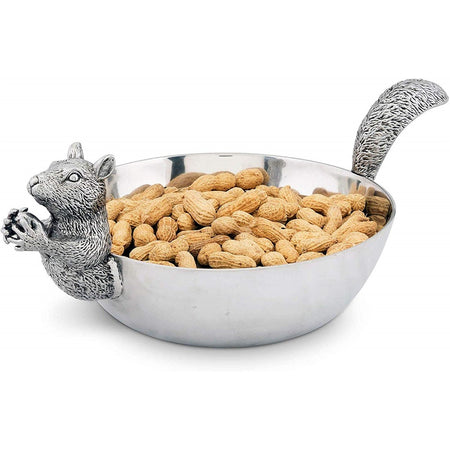 "Aluminum Large Squirrel Head and Tail Nut Bowl 13"" Long"