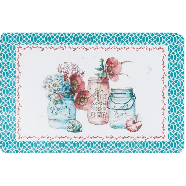 Teal boarder with 3 mason jars, 2 blue & 1 pink, with flowers in & shells around them.
