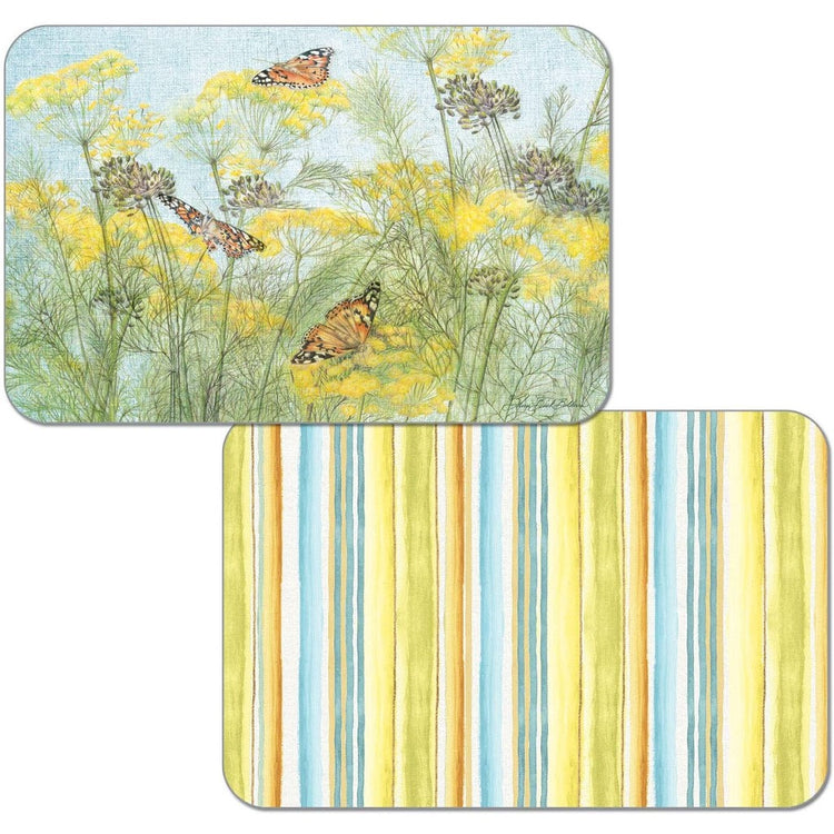 1 side is yellow & blue striped, the other has flowers & butterflies