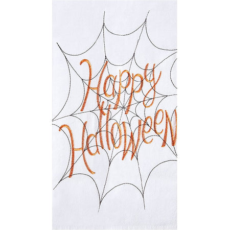"White towel covered with black outlined spider wed. Orange letters in web show text ""Happy Halloween"""