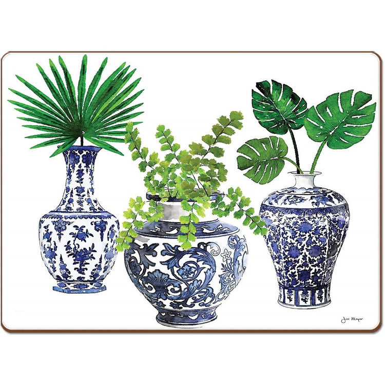 Rectangle shaped hardboard placemat with 3 blue and white vases greenery.