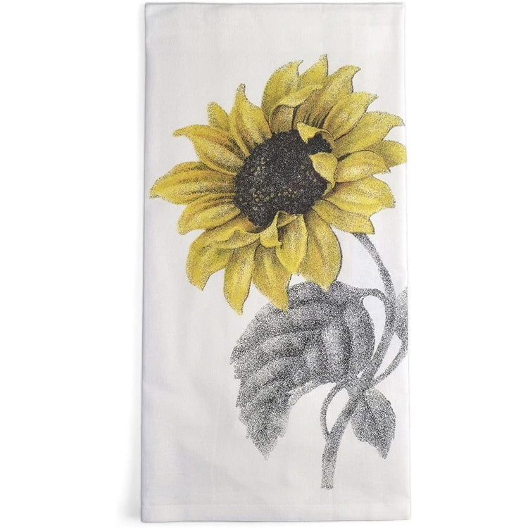White flour sack kitchen towel imprinted with a sunflower.
