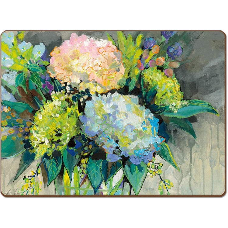 Rectangle shaped hardboard placemat with hydrangea blooms in bold colors of blue, green and pink.
