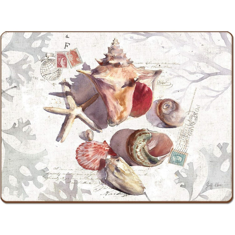 Rectangle shaped hardboard placemat with seashells and a starfish on white postcard background.